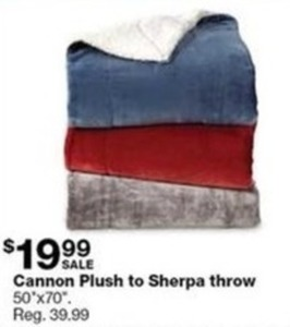 Cannon Plush to Sherpa Throw 50x70""