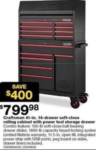 Craftsman 41-Inch 8-Drawer Soft-Close Top Chest