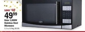 Oster 1000W Stainless Steel Microwave