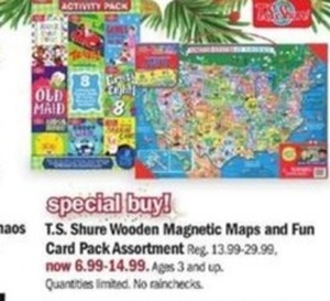 T.S. Shure Wooden Magnetic Maps And Fun Card Pack Assortment