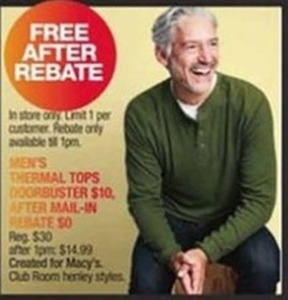 Men's Thermal Tops After Rebate