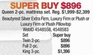 Select 2-Pc.Twin Beatyrest Silver Mattress Sets
