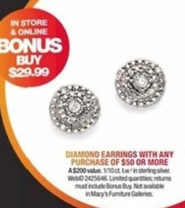 Diamond Earrings 29.99 w/ 50.00 Purchase