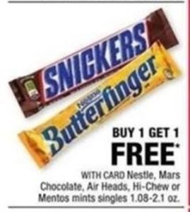 Nestle, Mars Chocolate, Air Heads, Hi-Chew or Mentos w/ Card