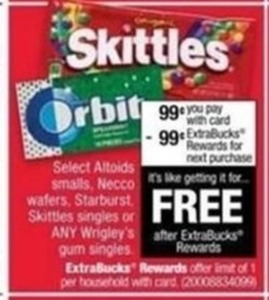 Select Altoids Smalls, Necco Wafters, Starburst, Skittles Singles or Any Wrigley's Gum Singles w/ Card