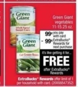 Green Giant Vegetables w/ Card After ExtraBucks