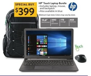 HP Touch Laptop Bundle w/ Laptop, Mouse & Backpack