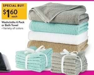 Washcloths or Bath Towel 6-Pack