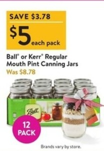 12pk Ball or Kerr Regular Mouth Pint Canning Jars