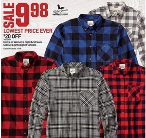 Field and Stream Men's or Women's Classic Lightweight Flannels