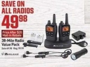 All Radios After $20 Mail in Rebate 38 Mile Radio Value Pack