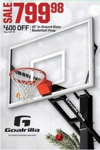 "Gorilla 60"" In-Ground Glass Basketball Hoop"