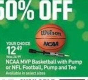 NCAA MVP Basketball w/ Pump or NFL Football, Pump and Tee
