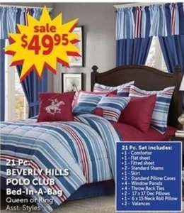 21PC Beverly Hills Polo Club Bed-in-a-Bag