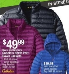 Men's and Women's Cabela's North Port Down Jackets