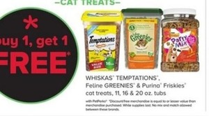 Whiskas Temptations Feline Greenies & Purina Friskies Cat Treats