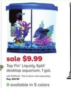 Top Fin Liquidiy Split Desktop Aquarium, 1 Gal