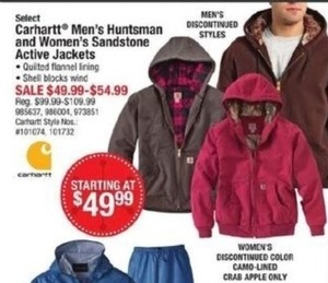 Carhartt Men's Huntsman & Women's Sandstone Active Jackets