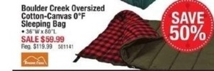 Boulder Creek Oversized Cotton Canvas 0 Degree Sleeping Bag