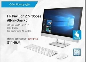 HP Pavilion27 All-in-One PC w/ 7th Gen Intel Core i7 Processor