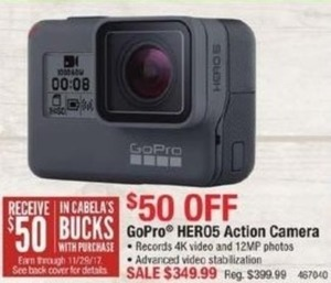 GoPro Hero5 Action Camera  + $50 Cabela's Bucks