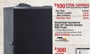 "Master built Sportsman Elite 30"" Electric Smokes w/ Probe After Rebate"
