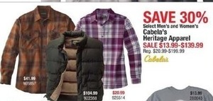 Select Men's & Women's Cabela's Heritage Apparel