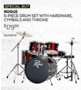 Rouge 5-pc Drum Set w/ Hardware, Cymbals, & Throne