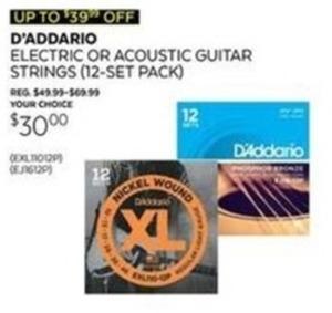D'Addario Electric or Acoustic Guitar Strings (12 Set Pk)