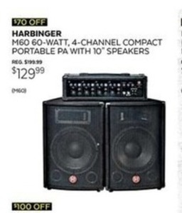 "Harbinger M60 Portable PA w/ 10"" Speakers"