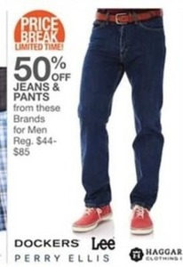 Dockers, Lee, Perry Ellis and Hagar Clothing Jeans for Men