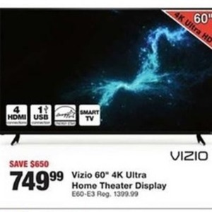 "Vizio 60"" 4K Ultra Home Theater Display"