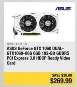 ASUS GeForce GTX 1060 DUAL-GTX1060-06G 6GB Ready Video Card