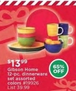 Gibson Home 12-Pc. Dinnerware Set Assorted Colors