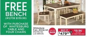 Bench w/ Purchase of Whitesburg Table and Four Chairs