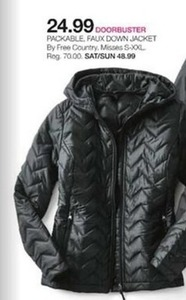 Free Country Packable Faux Down Jacket