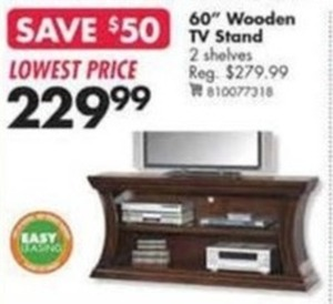 """60"""" Wooden TV Stand with Two Shelves"""