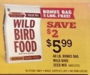 40 LB Bonus Bag Wild Bird Seed Mix