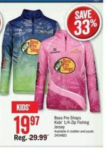 Bass Pro Shops Kids' 1/4 Zip Fishing Jersey