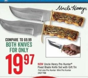 Uncle Henry Pro Hunter Fixed Blade Knife Set w/ Gift Tin