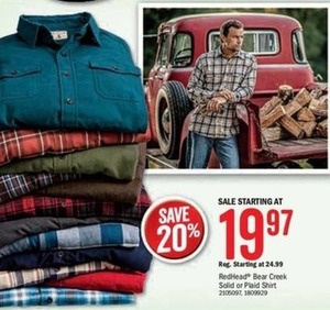 RedHead Bear Creek Solid or Plaid Shirt
