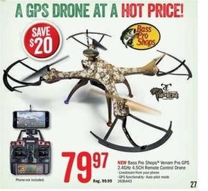 Bass Pro Shops Venom Pro GPS 2.4GHz 4.5CH Remote Control Drone