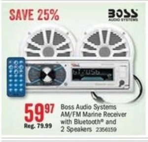 Boss Audio Systems AM/FM Marine Receiver w/ Bluetooth and 2 Speakers