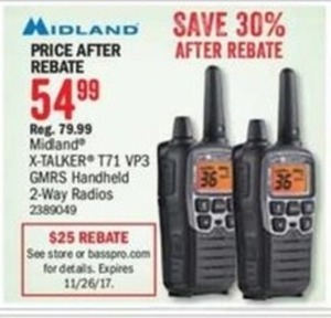 Midland X-Talker T71 VP3 GMRS Handheld 2-Way Radios (After Rebate)