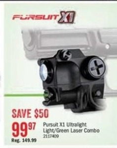 Pursuit X1 Ultralight Light/Green Laser Combo