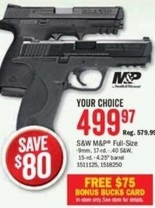 S&W M&P Full-Size 9mm Pistol + $75 Bonus Bucks Card