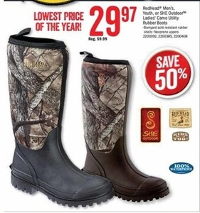 Redhead Men's, Youth or SHE Outdoor Ladies' Camo Utility Rubber Boots