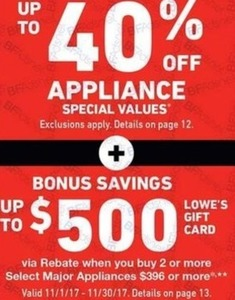 Appliance Special Buys + Bonus Savings Up to $500 via Gift Card
