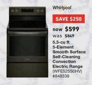 Whirlpool 5.3 Cu. Ft. 5-Element Smooth Surface Self-Cleaning Convection Electric Range