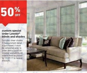 50% off custom special order Leveler blinds and shades